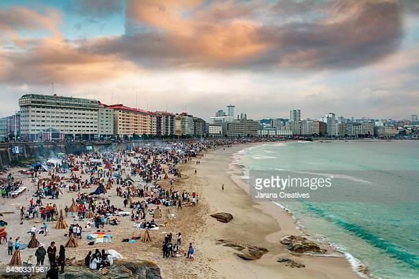 San Juan in beaches of Riazor and Orzan in A Coruña, Galicia, Spain