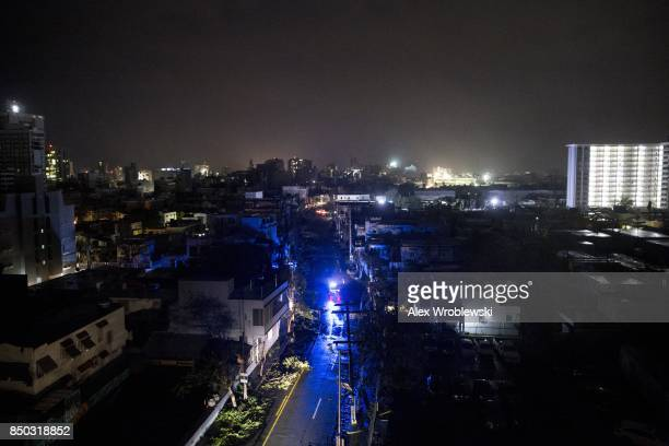San Juan is seen during a total blackout after Hurricane Maria made landfall as a Category 4 storm on September 20 2017 San Juan Puerto Rico...