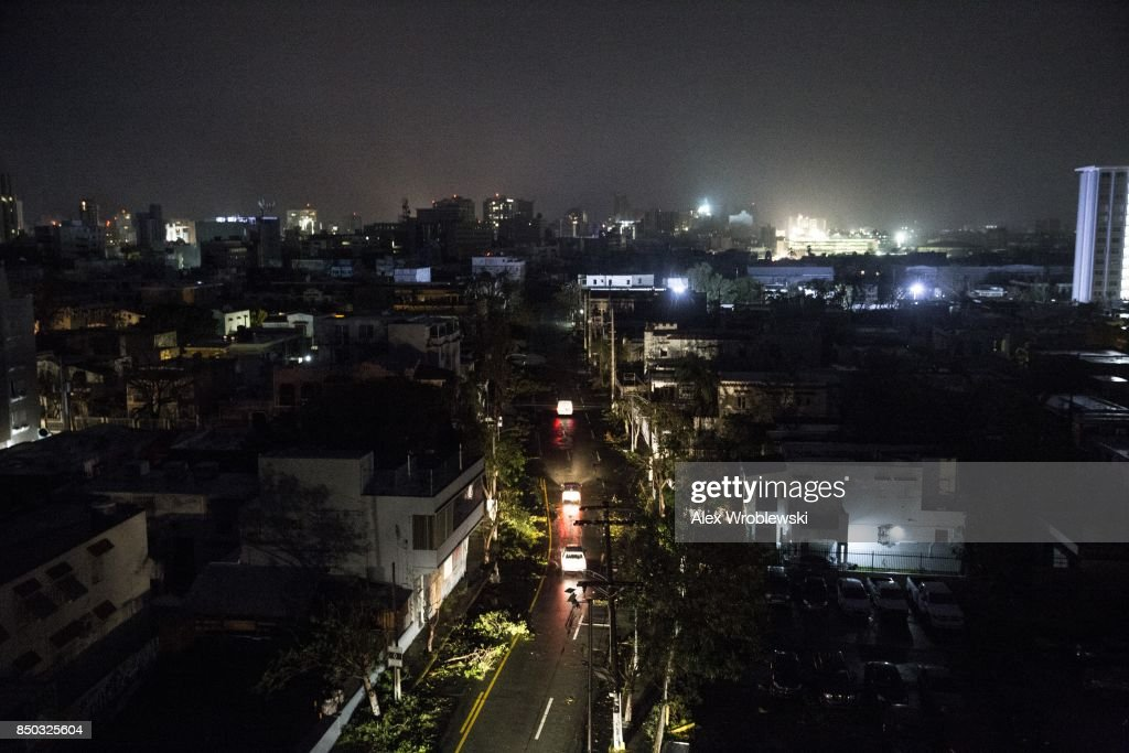 San Juan is seen during a total blackout after Hurricane Maria made landfall as a Category 4 storm on September 20, 2017 San Juan, Puerto Rico. Thousands of people have sought refuge in shelters, and electricity and phone lines have been severely impacted. Puerto Rico Governor Ricardo Rossello has announced a curfew, 6 p.m. to 6 a.m., effective Wednesday through Saturday.
