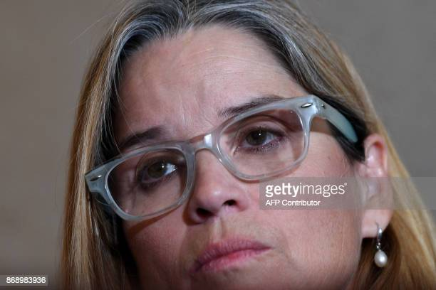 San Juan Puerto Rico Mayor Carmen Yulin Cruz speaks on Capitol Hill in Washington DC on November 1 after a closed door caucus meeting / AFP PHOTO /...