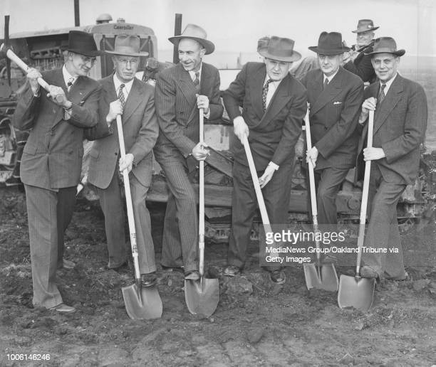 San Leandro CA January 16 1946 Groundbreaking on the new Oakland Speedway to be named Oakland Stadium at 150th Avenue and East 14th Street Bill Linn...