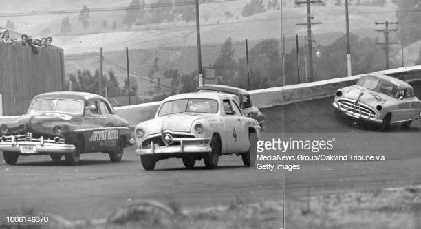 San Leandro CA July 1 1951 Gen Gregory No 4 comes off the east bank passing Jim Heath No 3 Behind Gregory is Bob Casswell followed by Joe Gemsa...