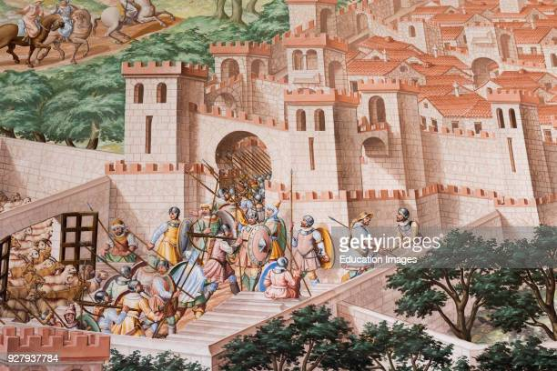 San Lorenzo de El Escorial Madrid Province Spain The monastery of El Escorial Detail of fresco in the Hall of Battles of the 1431 Battle of La...