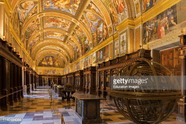 San Lorenzo de El Escorial, Madrid Province, Spain. The Real Biblioteca, or Royal Library, in the monastery of El Escorial. The library was founded...