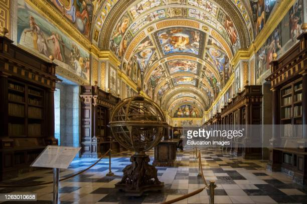 San Lorenzo de El Escorial, Madrid Province, Spain. The Real Bibliotheca, or Royal Library, in the monastery of El Escorial. The library was founded...
