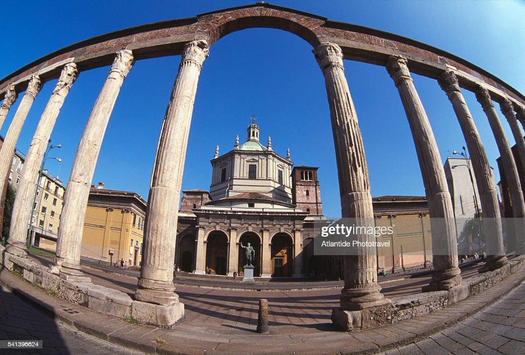 San Lorenzo Maggiore Church In Milan Stock Photo | Getty ...
