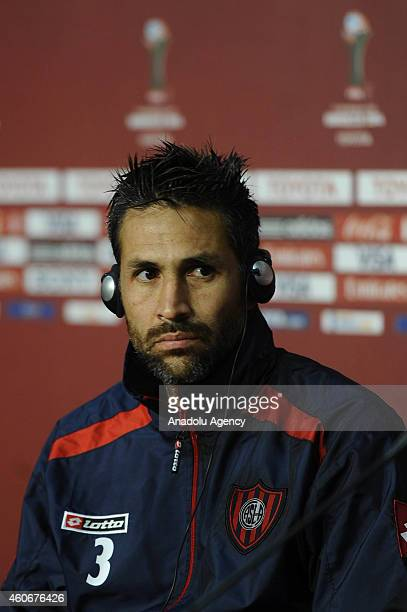 San Lorenzo's player Mario Yepes attends a press conference during the FIFA Club World Cup at Marrakesh stadium in Marrakesh Morocco on December 19...