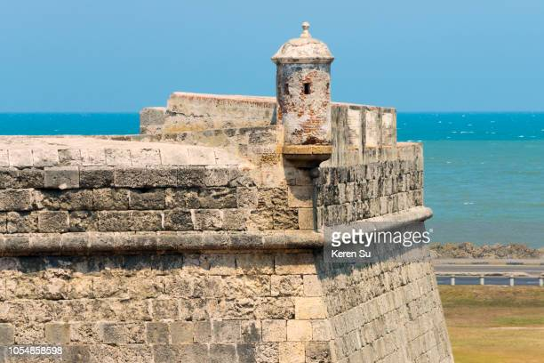 san lucas, part of the walls in the old town, cartagena, unesco world heritage site, bolivar department, colombia - unesco stock-fotos und bilder