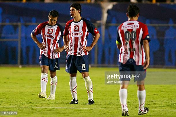 San Luis Aaron Galindo Jonny Magallon and Omar Bravo during the match against Chivas the 2009 Opening tournament the closing stage of the Mexican...