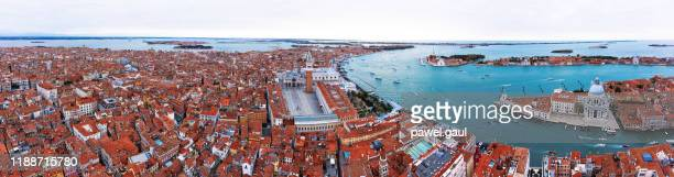 san marco quarter with st. mark's square aerial venice italy - campo santo stefano stock pictures, royalty-free photos & images