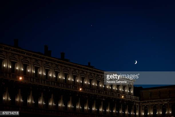San Marco square at night with moon