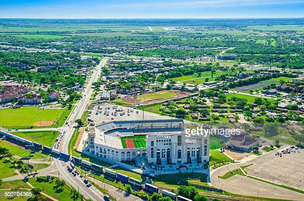 San Marcos Texas Aerial Panoramic Skyline, TXST Bobcat Stadium