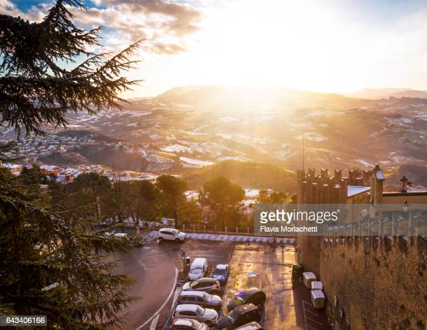 san marino at sunset - republic of san marino stock photos and pictures