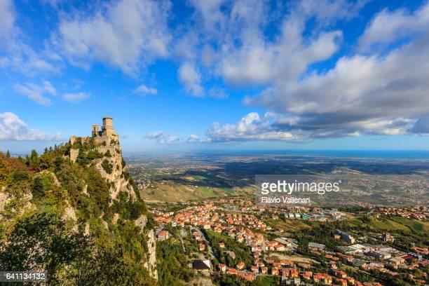 san marino, castello della guaita - fortress of guaita - republic of san marino stock photos and pictures