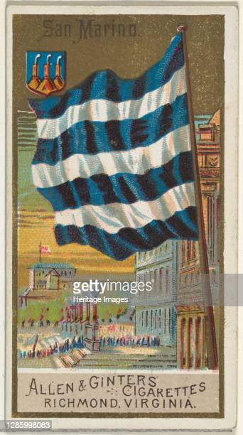 San Marino, from Flags of All Nations, Series 2 for Allen & Ginter Cigarettes Brands, 1890. Artist Allen & Ginter.
