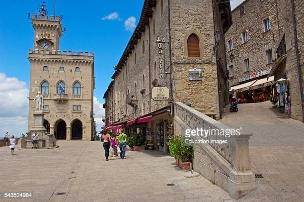 San Marino. Palazzo Pubblico. Piazza della Libert_, Liberty Statue, Monte Titano. Republic of San Marino. Italy. Europe.