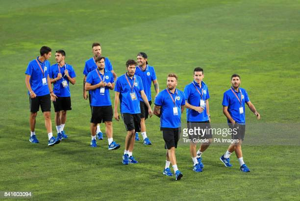 San Marino players on the pitch before the 2018 FIFA World Cup Qualifying Group C match at the San Marino Stadium Serravalle