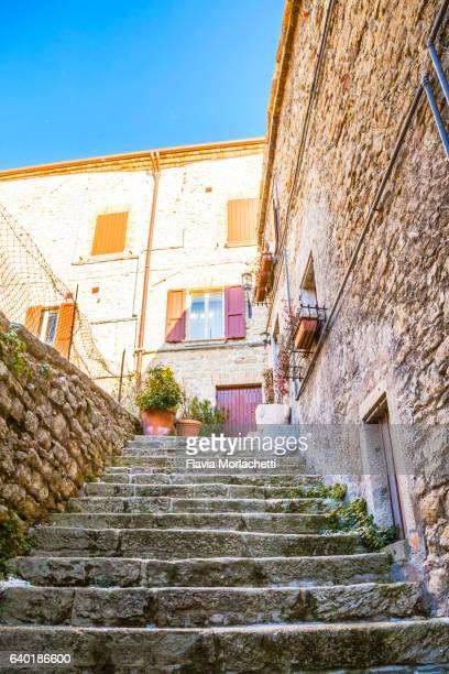 san marino street with stairs - republic of san marino stock photos and pictures