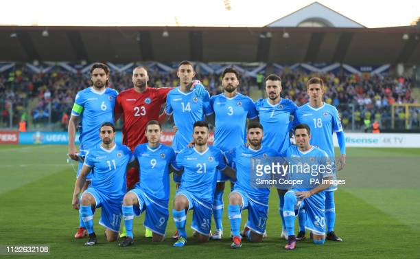 San Marino team group during the UEFA Euro 2020 Qualifying, Group I match at the San Marino Stadium, Serravalle.