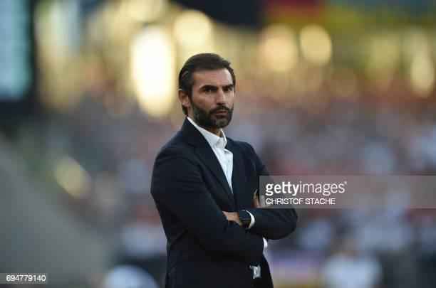 San Marino's headcoach Pierangelo Mazaroli waits prior the WC 2018 qualification match between Germany and San Marino in the stadium in Nuremberg...