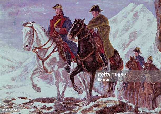 San Martin leading his army through the Upsalata Pass of the Andes This led to the defeat of the Spaniards at Chacabuco After a painting by the...