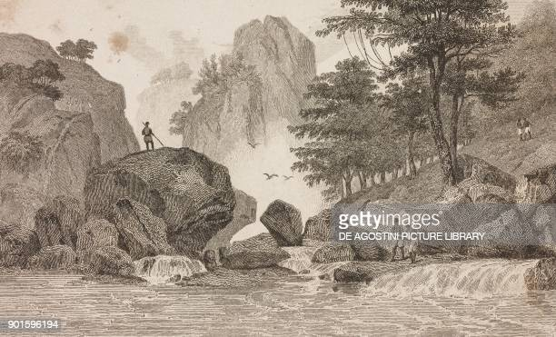 San Mathe River near Cueva Philippines engraving by Domeny de Rienzi and Panier from Oceanie ou Cinquieme partie du Monde Revue Geographique et...