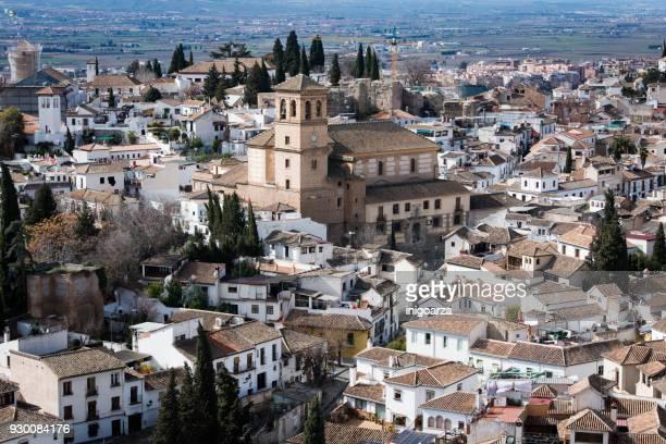 san miguel church, granada, andalucia, span - granada stock photos and pictures
