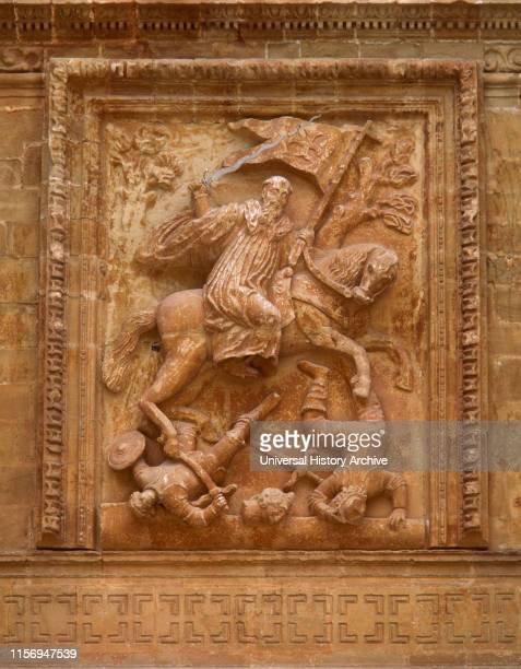 San Millan de la Cogolla La Rioja Spain Yuso Monastery Relief of Saint Emilian the MoorSlayer by Spanish sculptor Diego Lizarraga 16611665 Baroque...