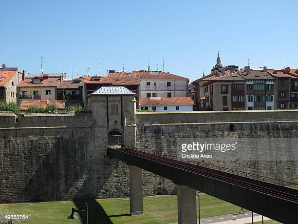 San Nicolas gate and bridge in the walls of Hondarribia Guipuzcoa Basque Country Spain