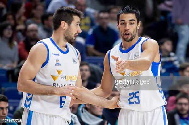 San Pablo Burgos Bruno Fitipaldo and Alex Lopez during Liga Endesa match between Movistar Estudiantes and San Pablo Burgos at Wizink Center in Madrid...