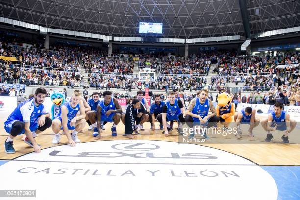 San Pablo Burgos celebrating the victory after Liga Endesa match between San Pablo Burgos and Iberostar Tenerife at Coliseum in Burgos Spain on...