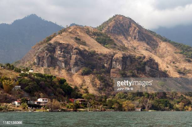 san pablo la laguna from lake atitlan - colonial stock pictures, royalty-free photos & images