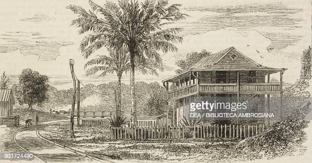 San Pablo with iron bridge across the river Chagres along the Panama Railway the isthmus of Darien Panama illustration from the magazine The Graphic...