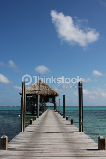 San Pedro Belize Beach Pier Stock Photo