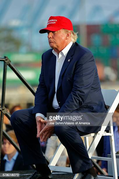 San Pedro CA September 15 Donald Trump 2016 Republican Presidential Candidate Speaks During A Rally Aboard The Battleship USS Iowa In San Pedro Los...