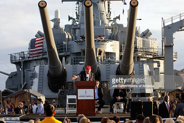 San Pedro CA September 15 Donald Trump 2016 Republican Presidential Candidate Speaks Under Large Battleship Guns During A Rally Aboard The Battleship...