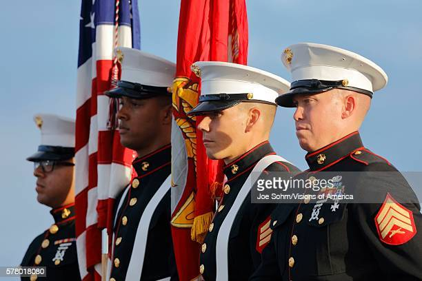 San Pedro CA September 15 Us Marines And Honor Guard At Donald Trump 2016 Republican Presidential Rally Aboard The Battleship USS Iowa In San Pedro...