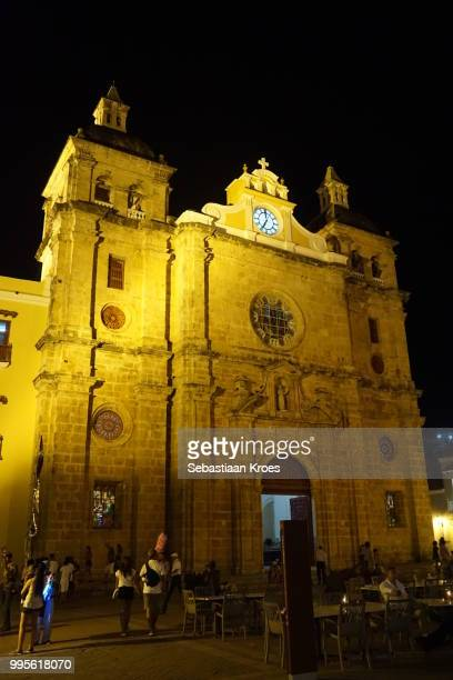 San Pedro Claver Church at Night, Well Lit, Cartagena, Colombia