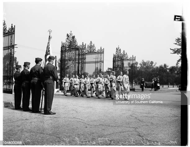 San Pedro Memorial Day services Forest Lawn May 30 1951 Jackie Crosby 8 yearsPaul Abell 4 yearsBill Abell 6 yearsHoover High ROTCgeneral view of...