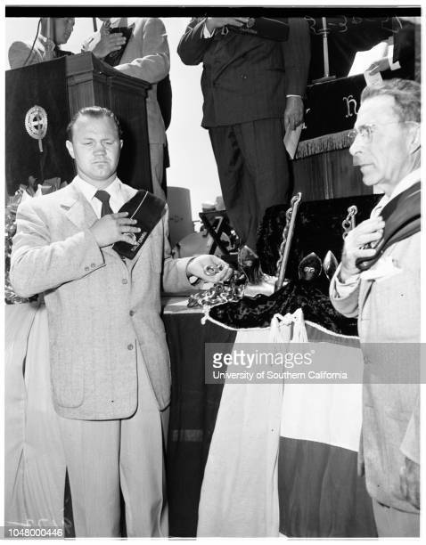 San Pedro Memorial Day services May 30 1951 Gold Star mothersBlue Star mothersNavy wivesNavy mothersGirl Scout Marinersflowers thrown from deck of...