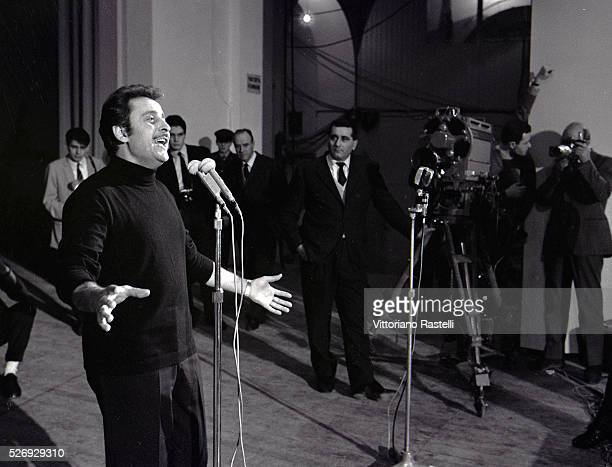 San Remo Italy 26 January 1966 The singer Domenico Modugno in rehearsal at the Festival of San Remo