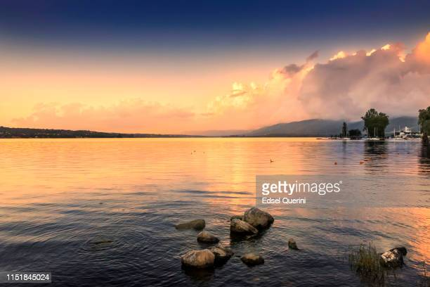 san roque lake at sunset, villa carlos paz, córdoba, argentina. - cordoba argentina stock photos and pictures