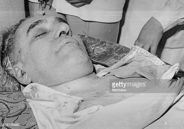 The body of Archbishop Oscar A Romero lies on the ground after he was assassinated by four gunmen as he said funeral mass at the Divine Providence...