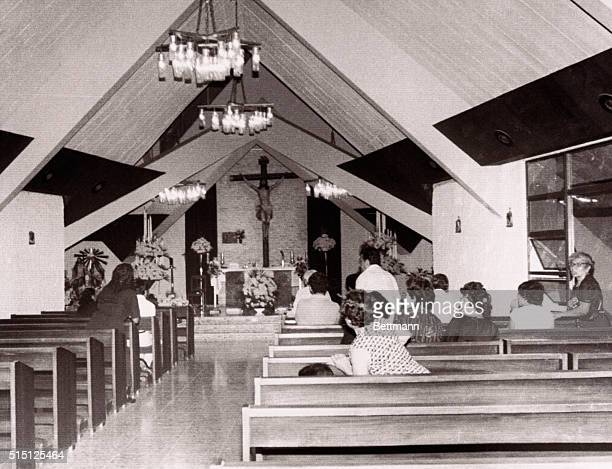 View of the interior of the chapel at Divine Providence Hospital second after Archbishop Oscar A Romero was assassinated by four gunmen There was no...