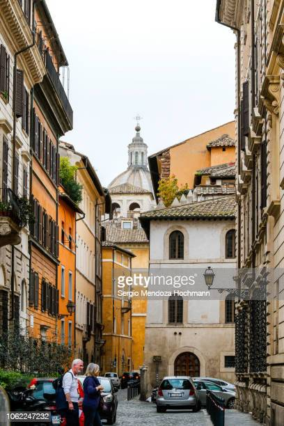 san salvatore in lauro church seen from piazza fiammetta street - rome, italy - san stock pictures, royalty-free photos & images