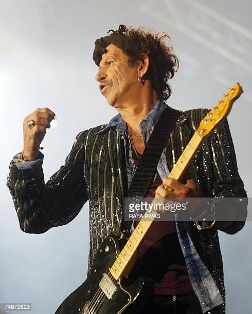 British musician Keith Richards of the rock band the Rolling Stones performs on the stage of the Anoeta Stadium 23 June 2007 in San Sebastian...
