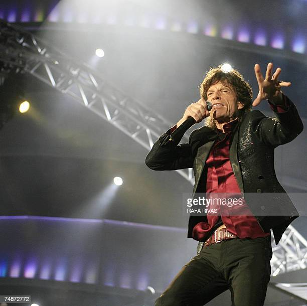 British singer Mick Jagger of the rock band the Rolling Stones performs on the stage of the Anoeta Stadium 23 June 2007 in San Sebastian northern...