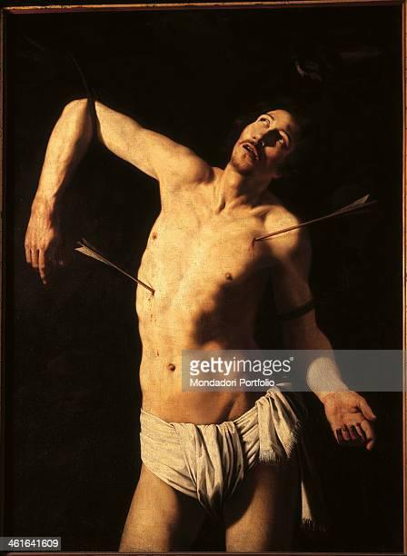 San Sebastiano unknown artist related to Michelangelo Merisi also known as Caravaggio Saint Sebastian 17th century oil on canvas Italy Lombardy Milan...