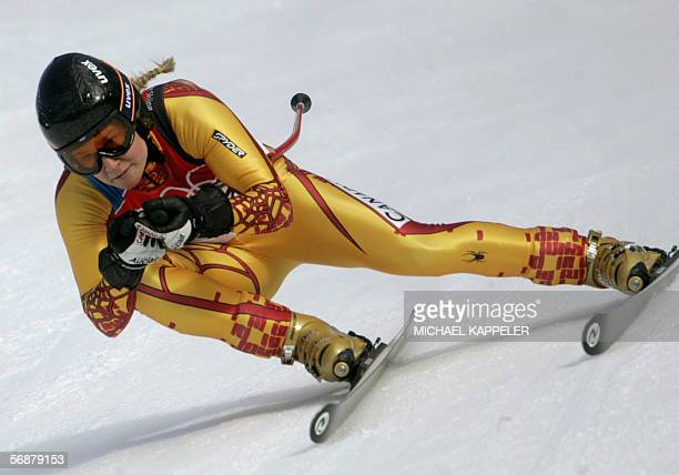 Canada's Brigitte Acton speeds down the course during the Women's Combined Downhill in San Sicario Italy at the Turin 2006 Winter Olympic Games 18...