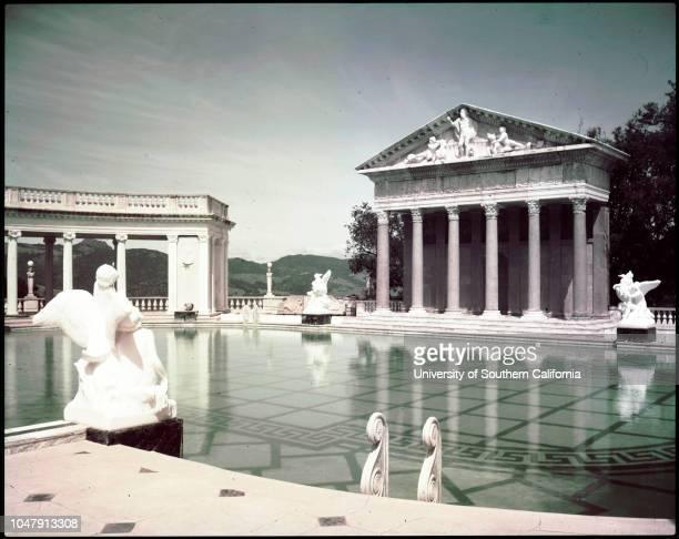 San Simeon California state park 2 June 1958 Neptune pool various scenesSpire of La Casa Grandetapestry 'The Hunt'billiard roomthe theatre where...